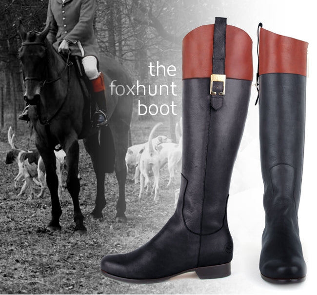 The Foxhunt Boot - Calf-fitting - black and cognac Leather English Riding Boots - Poppy Barley