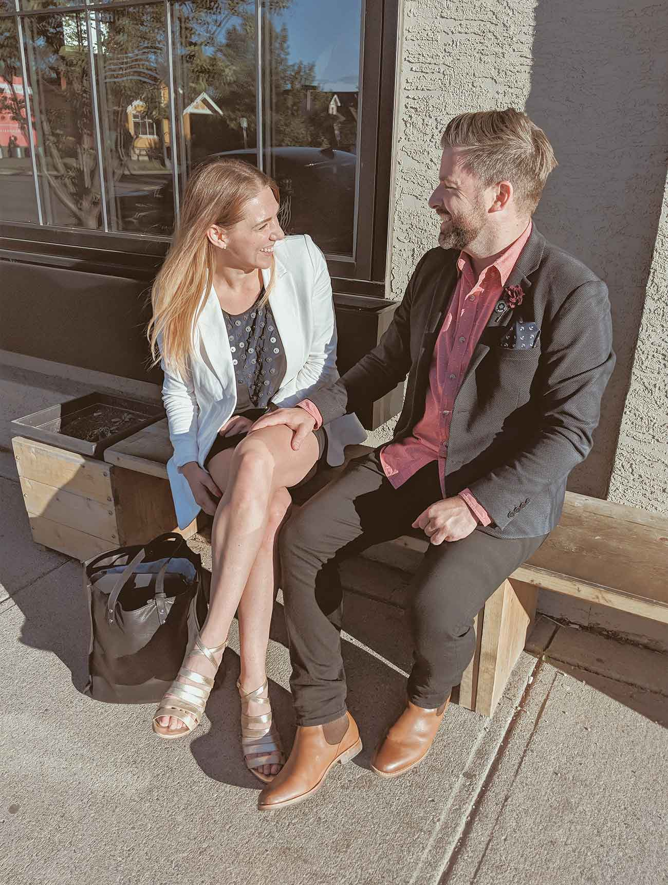 Calgary Travel Guide - Mandy and James in The Victoria Heeled Sandal and London Chelsea Boot - Poppy Barley