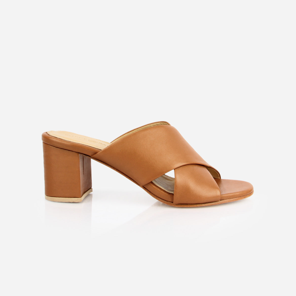 The Niagara Cross Mule Heel Sandal in Almond - Poppy Barley