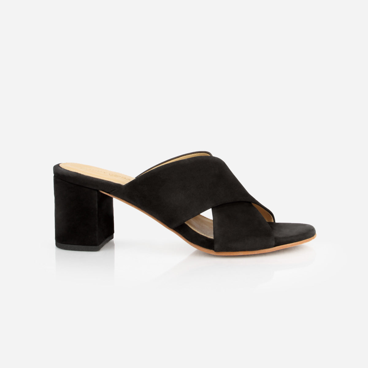 The Niagara Cross Mule Heel Sandal in Black Nubuck - Poppy Barley
