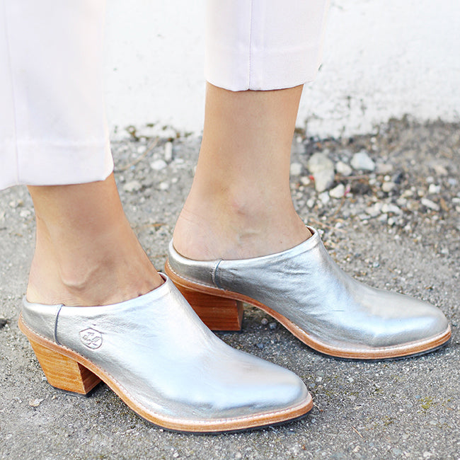 In Her Shoes: Shay Merritt - the woman behind Jillian Harris - wearing our Stardust Silver Heeled Mules