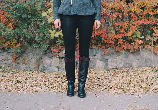 Tall leather boots that fit narrow calves, wide calves, or something in between.