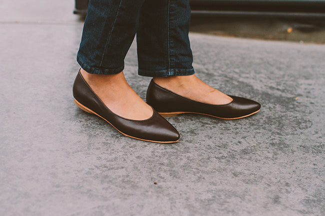 Chocolate Brown Flats by Poppy Barley Made to Measure