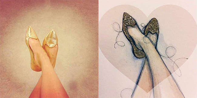 Poppy Barley - The Feminine Slipper in Metallic Gold and Camel Suede, turned into art by Paper & Ink
