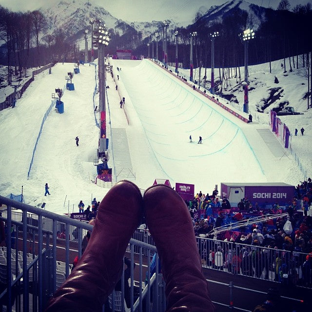 Our Poppy Barley custom, calf-fitting tall Boots at the Sochi Olympics. Poppy Barley offers Made-To-Measure boots and shoes in widths narrow, standard and wide.