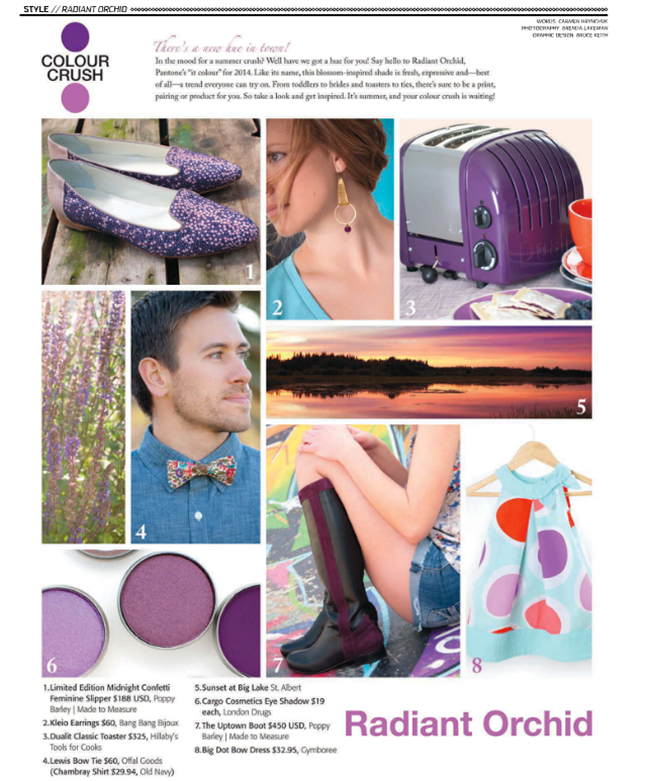 Poppy Barley in Vue Weekly's Hot Summer Guide: Midnight Confetti Feminine Slipper (August 2014 release date) and The Uptown Boot
