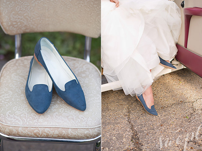 "Poppy Barley - Blue Jean Baby Feminine Slipper featured in SWEPT Bridal 2015. Custom shoes for ""something blue""!"