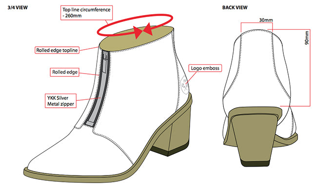 Poppy Barley Zipper Bootie - technical drawing