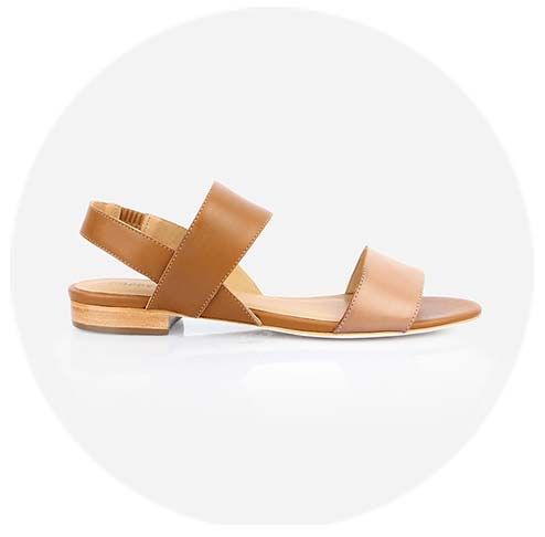 The Prairie Flat Sandal in Fawn and Almond - Poppy Barley