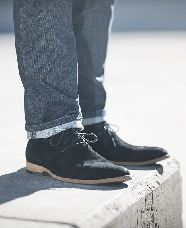 Poppy Barley Vancouver Chukka in Black Nubuck - Sizes 5 to 15, three different widths