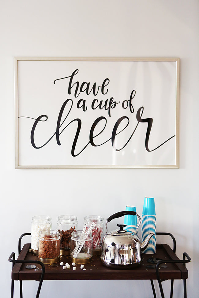 "Poppy Barley Showroom - Holiday Hot Chocolate Station and ""Hot Chocolate Saturdays"" #holidaylettering - Photo by Andrea Hanki"