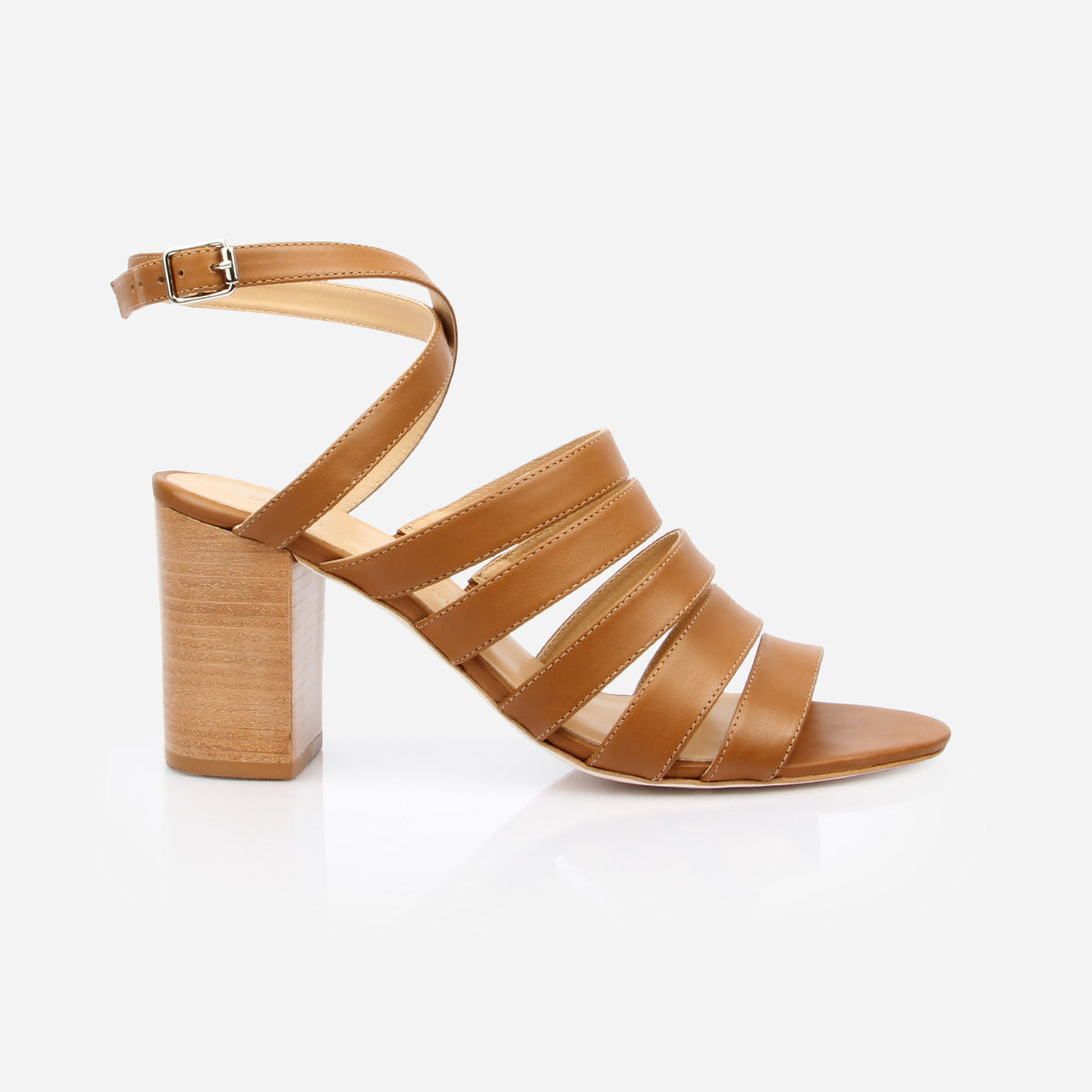 The Victoria Heeled Sandal in Almond - Poppy Barley
