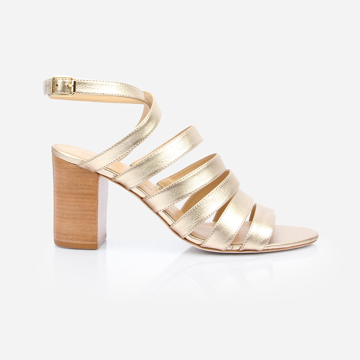 The Victoria Heeled Sandal in Champagne - Poppy Barley