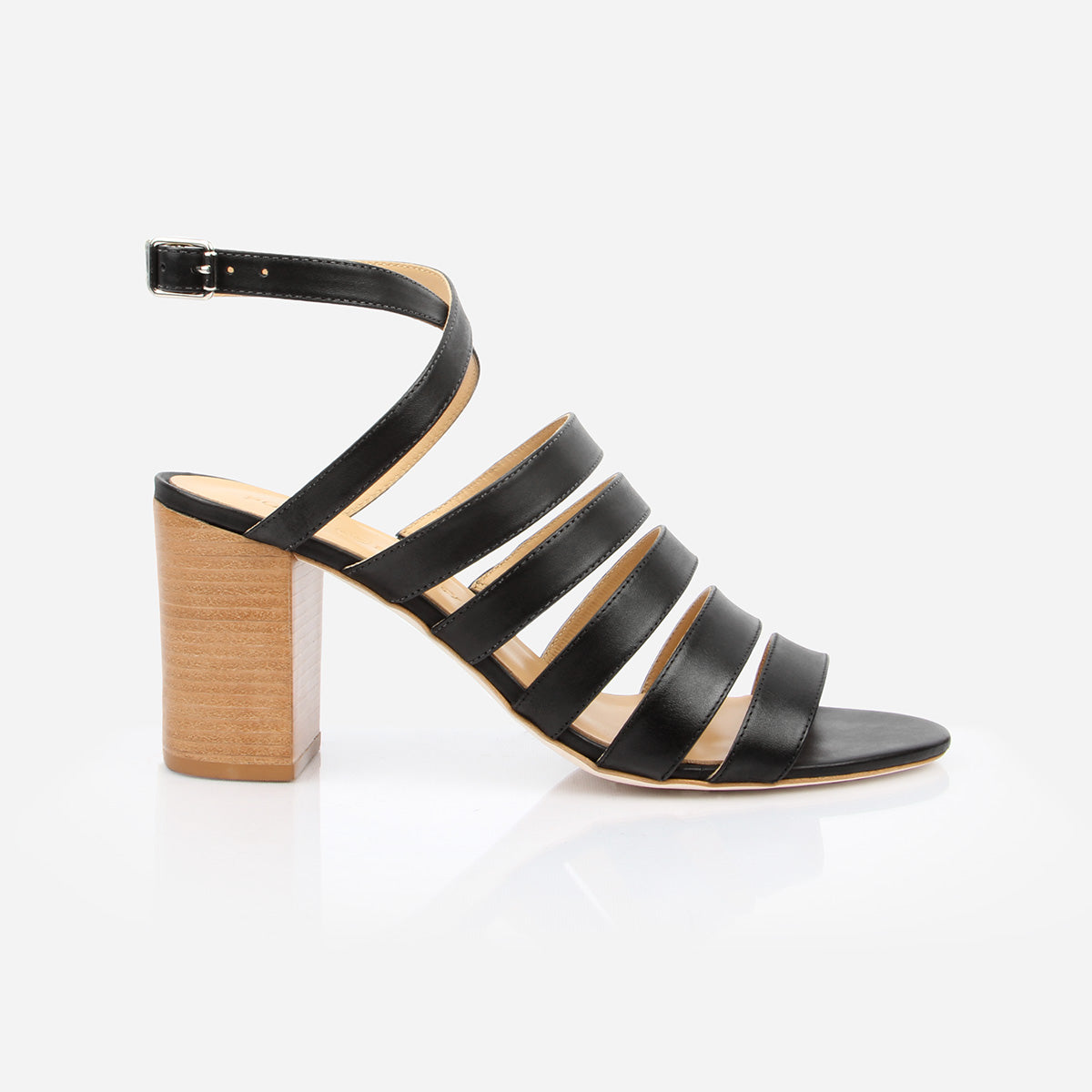 The Victoria Sandal in Black Nubuck - Poppy Barley
