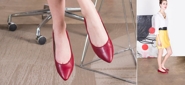Poppy Barley - Classic Point - Ruby Red - Custom fit, ethically made. Ballet flats.