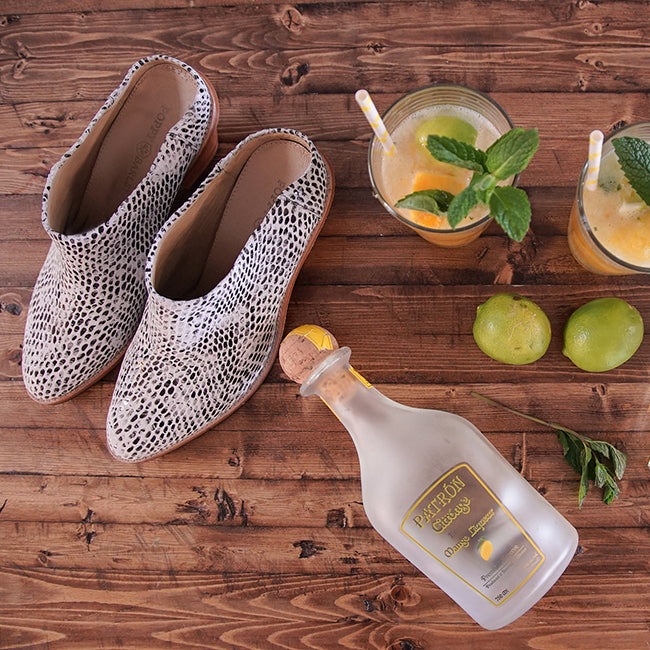 Poppy Barley - Summer 2016 Collection - The Heeled Mule in White Cheetah - Summer Cocktail Recipes