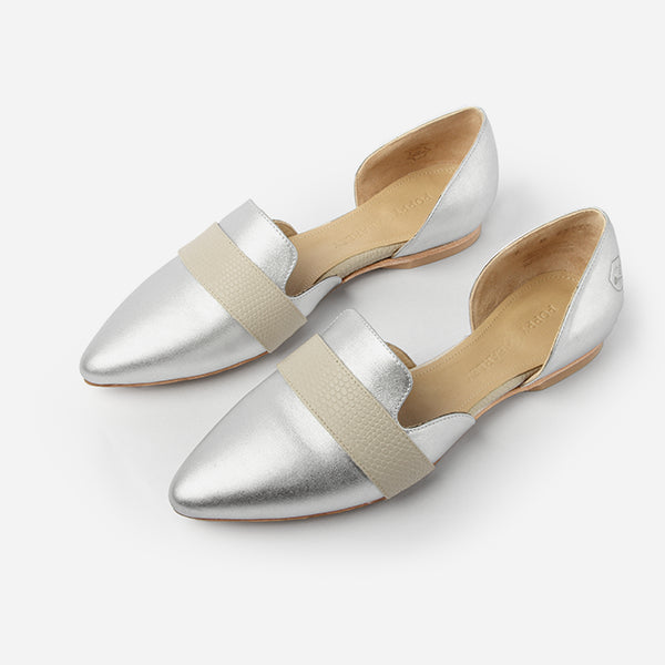 The D'Orsay Flat - metallic silver leather d'orsay flats - Poppy Barley
