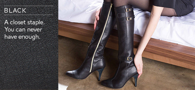 Poppy Barley - Custom Leather Boots - Black leather tall boots