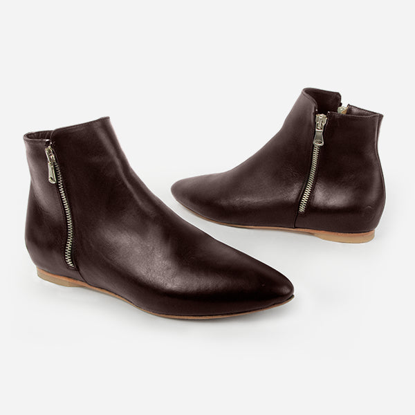 The Flat Bootie - Brown leather flat zipper bootie - Poppy Barley