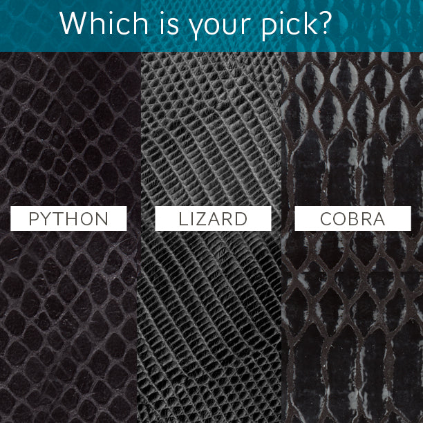 Poppy Barley Product Development Poll: Python, Lizard and Cobra Leather - Animal textures - Poppy Barley