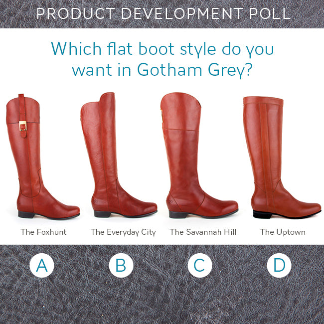 Product Development Poll: Which flat boot style would you like in our Gotham Grey leather? - Poppy Barley