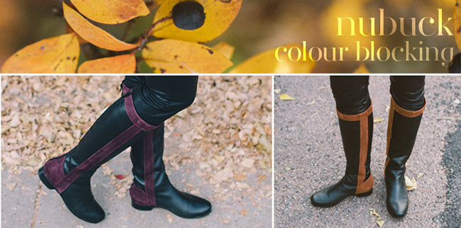 The Uptown Boot by Poppy Barley Made to Measure with color blocking leather. Custom, all leather boots for wide and narrow fitting calfs. Sizes 5-12