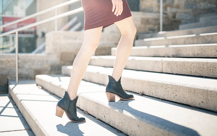 The Two Point Five Ankle Boot - black leather 2.5-inch stacked heel ankle boot - Narrow to wide - Poppy barley