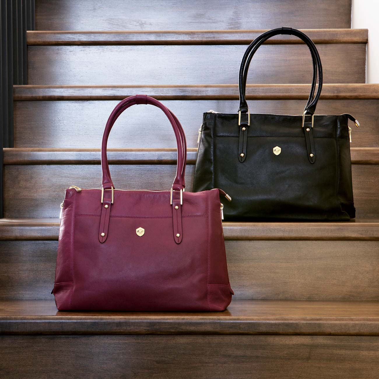 The Perfect Handbag in Burgundy and Black - Poppy Barley