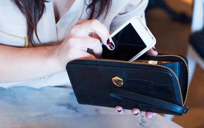 The Wristlet - black leather wristlet wallet - Poppy Barley