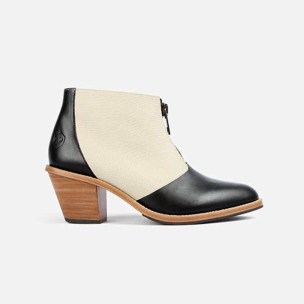 Poppy Barley | The Zipper Bootie | Ivory Snake and Black