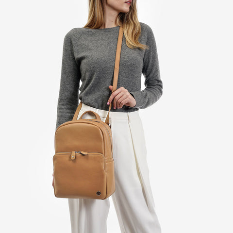 The Mini Backpack -tan pebble leather mini backpack - Poppy Barley
