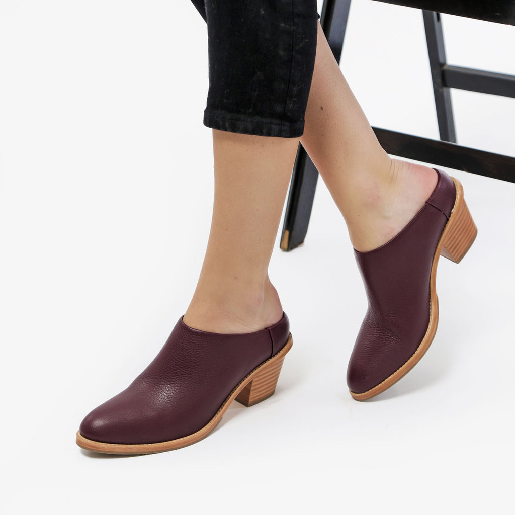 The Heeled Mule - plum leather closed-toe mule with stacked heel - Poppy Barley