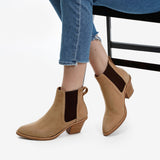 The Heeled Chelsea Boot -  tan nubuck chelsea boot with block heel - Poppy Barley