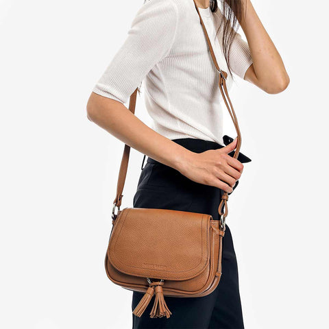 The Saddle Bag - tan leather tassel womens crossbody bag - Poppy Barley