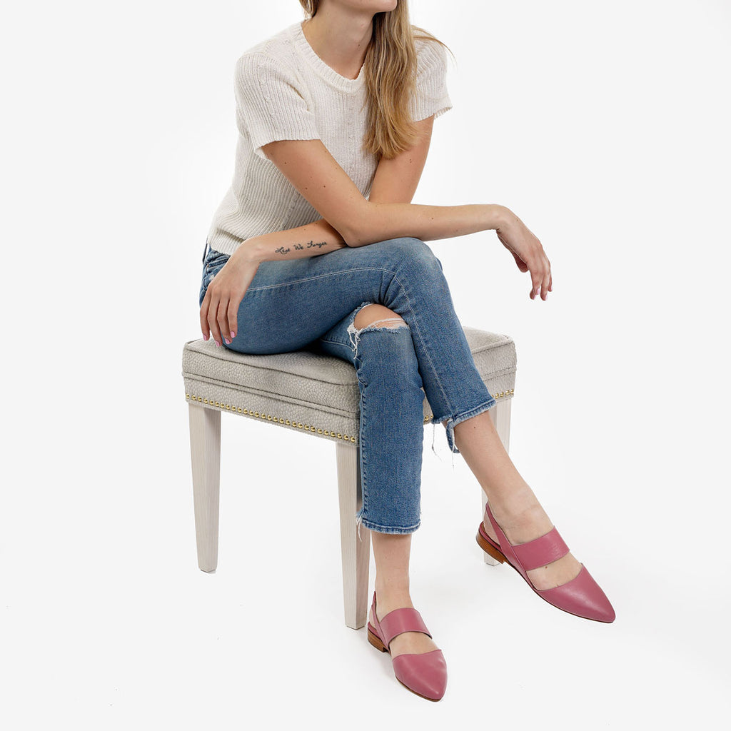 The Slingback Mary Jane - pink leather womens strapped closed toe flat - Poppy Barley