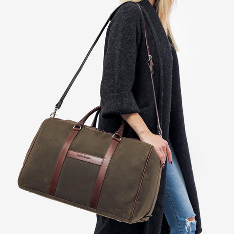 The Weekender - olive canvas and brown leather duffle bag - Poppy Barley