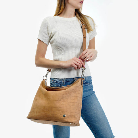 The Hobo Tote - tan embossed python nubuck leather large tote bag - Poppy Barley