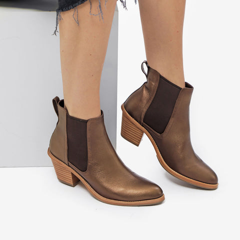 The Heeled Chelsea Boot -  metallic bronze leather chelsea boot with block heel - Poppy Barley