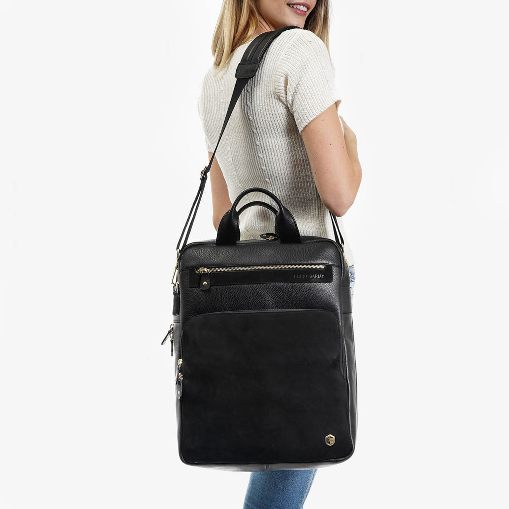 The Backpack - black leather and black suede commuter womens backpack - Poppy Barley