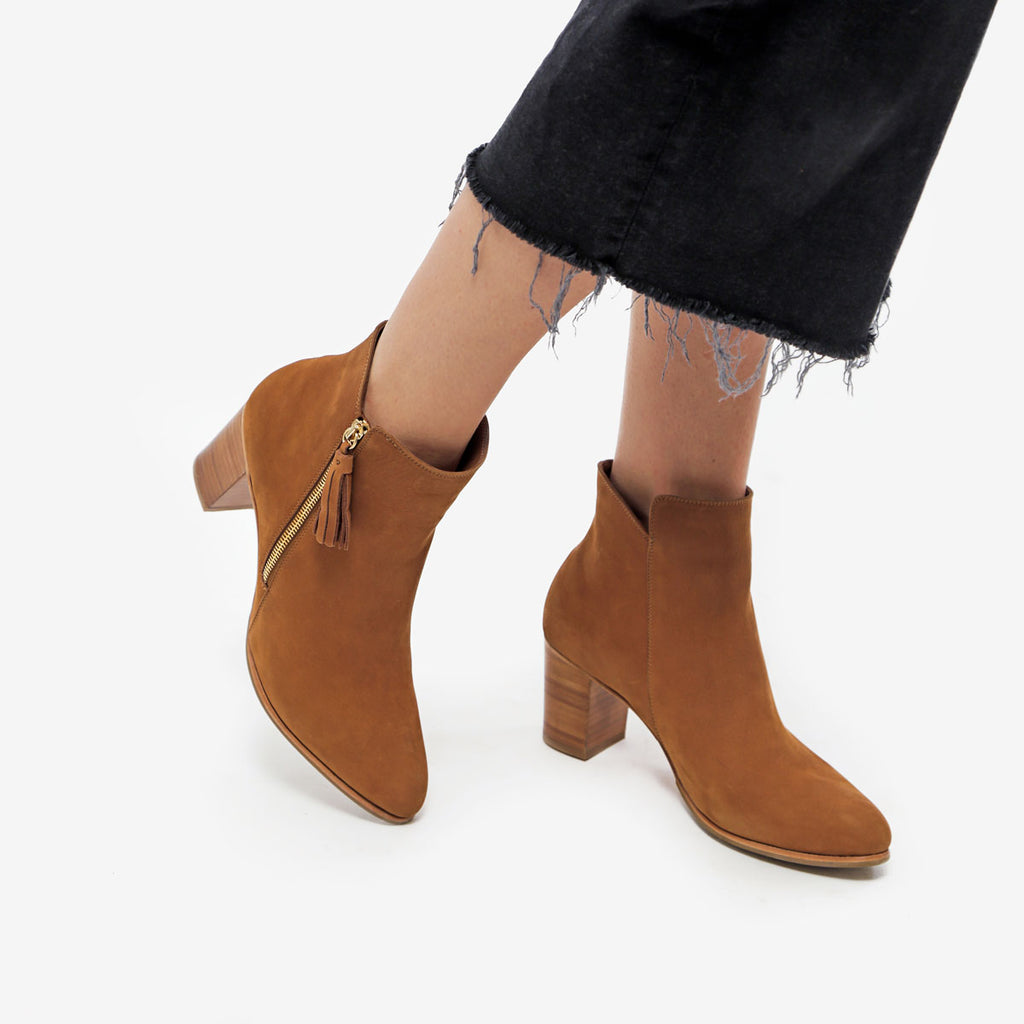 The Tassel Bootie - brown suede leather zippered womens ankle boot - Poppy Barley