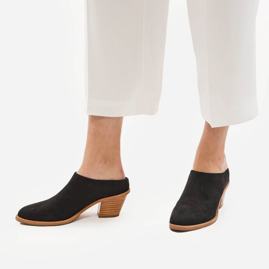 The Heeled Mule - black suede closed-toe mule with stacked heel - Poppy Barley