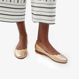 The Yaletown Ballet Flat -  gold leather scallop flat - Poppy Barley