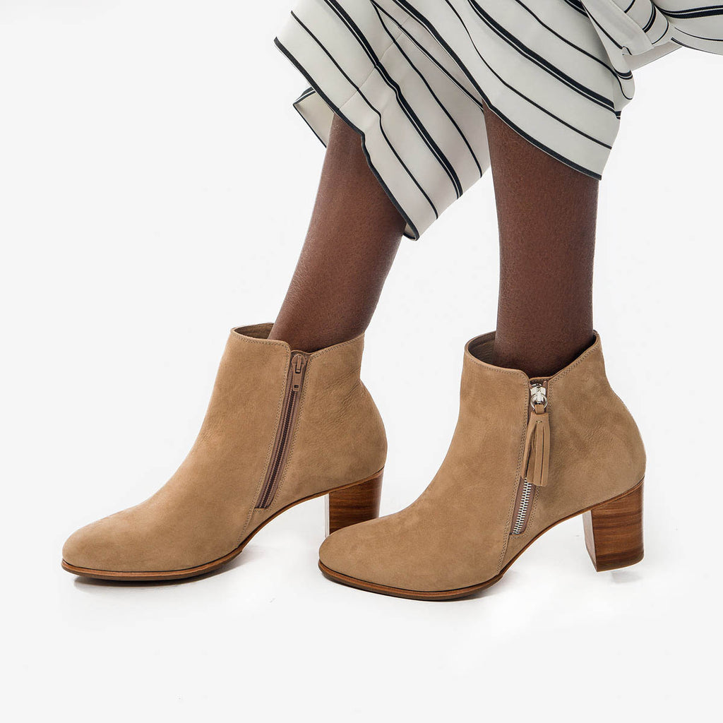 The Tassel Bootie -tan nubuck leather zippered womens ankle boot - Poppy Barley