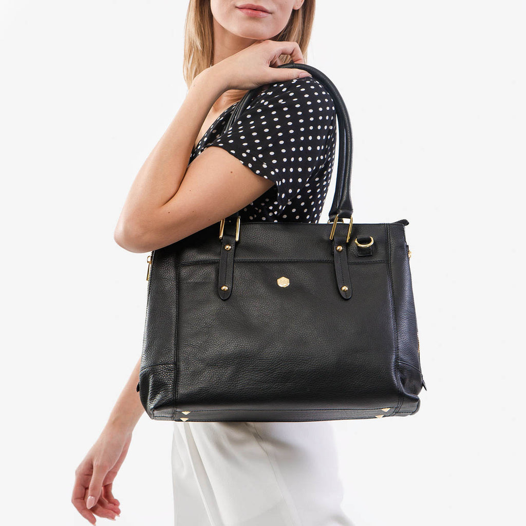 "The Perfect Handbag - the perfect black leather handbag that fits a 15"" laptop - Poppy Barley"