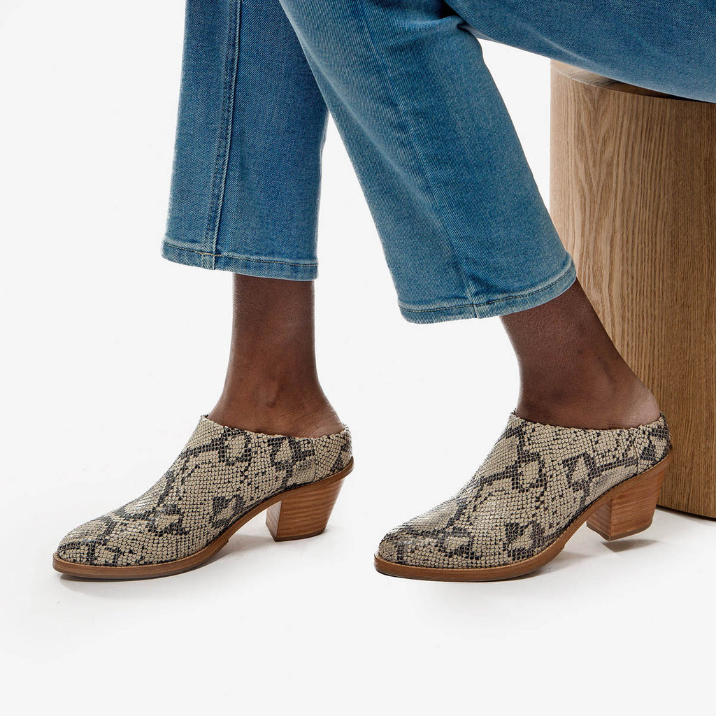 The Heeled Mule - snake print leather closed-toe mule with stacked heel - Poppy Barley