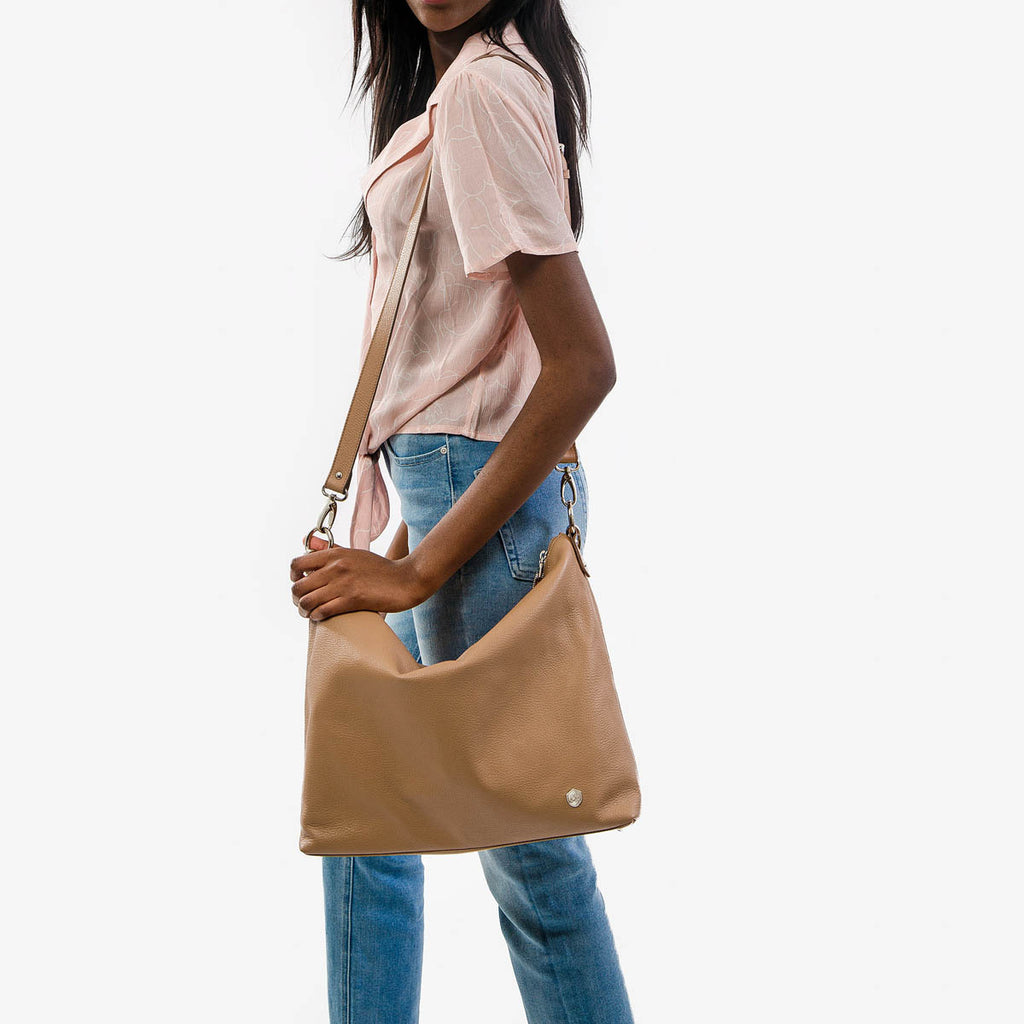 The Hobo Tote - light brown leather large tote bag - Poppy Barley