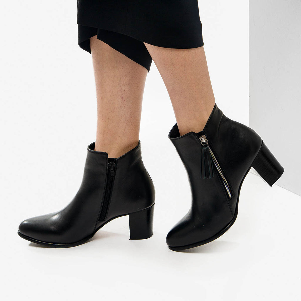 The Tassel Bootie -black leather zippered womens ankle boot - Poppy Barley
