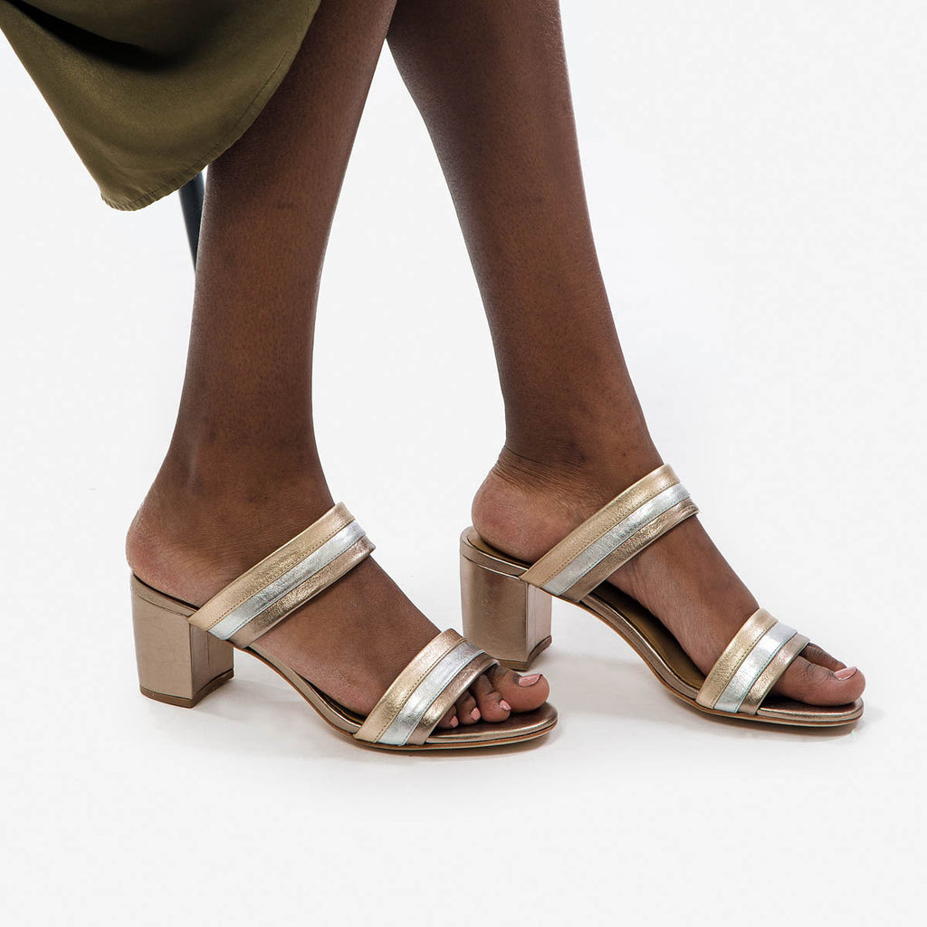The Block Party Sandal - gold and silver metallic leather block heeled womens sandal - Poppy Barley