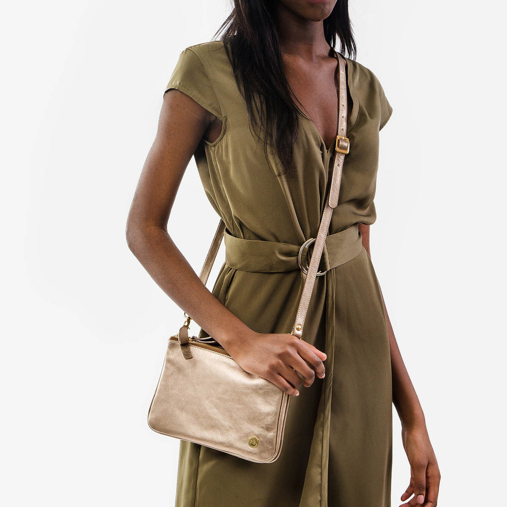 The Essentials Purse - gold metallic leather small cross-body bag - Poppy Barley