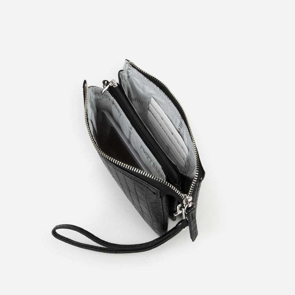 The 3-In-1 Wristlet Black Croc